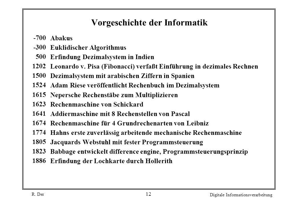 R. Der Digitale Informationsverarbeitung 12 Vorgeschichte der Informatik -700 -300 500 1202 1500 1524 1615 1623 1641 1674 1774 1805 1823 1886 Abakus E