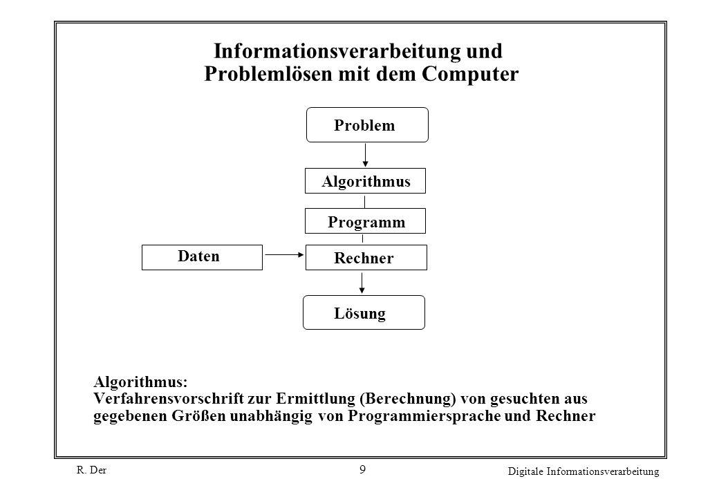 R. Der Digitale Informationsverarbeitung 9 Informationsverarbeitung und Problemlösen mit dem Computer Problem Lösung Rechner Programm Algorithmus Date