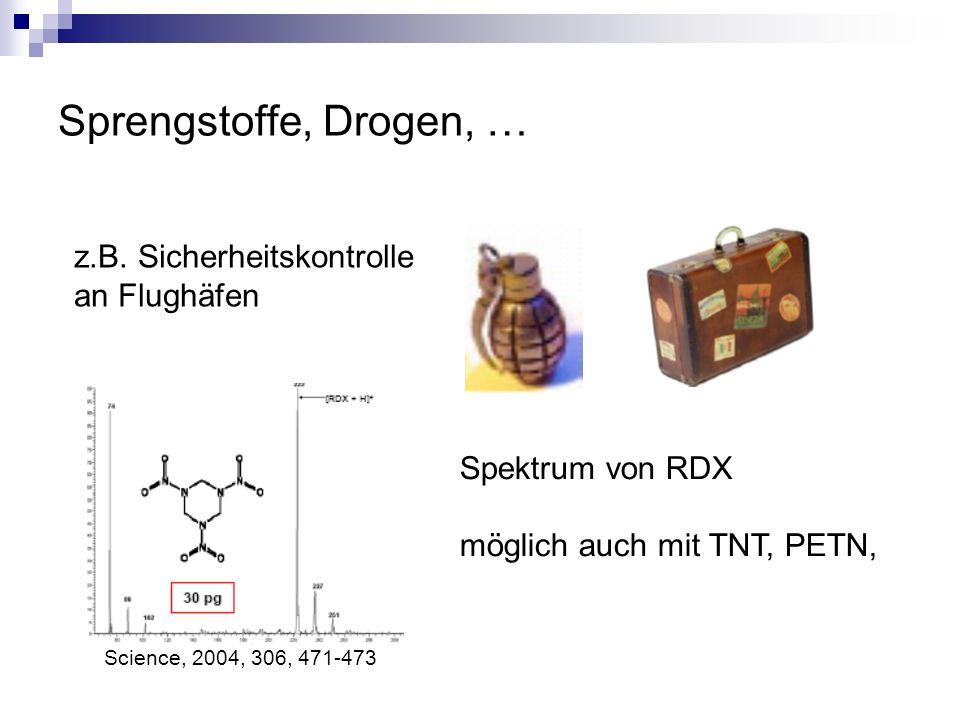 Sprengstoffe, Drogen, … z.B. Sicherheitskontrolle an Flughäfen Spektrum von RDX möglich auch mit TNT, PETN, Science, 2004, 306, 471-473