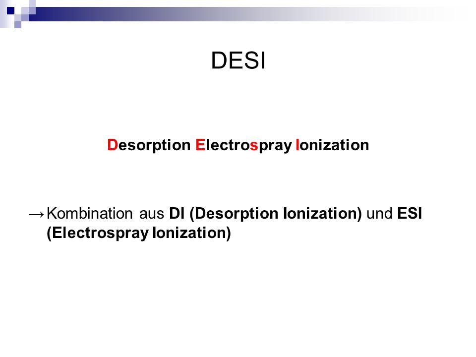 DESI Desorption Electrospray Ionization Kombination aus DI (Desorption Ionization) und ESI (Electrospray Ionization)