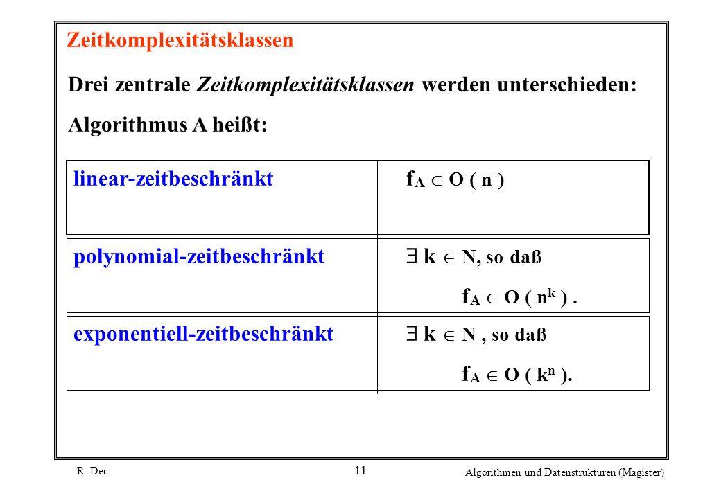 R. Der Algorithmen und Datenstrukturen (Magister) 11 Zeitkomplexitätsklassen Drei zentrale Zeitkomplexitätsklassen werden unterschieden: Algorithmus A