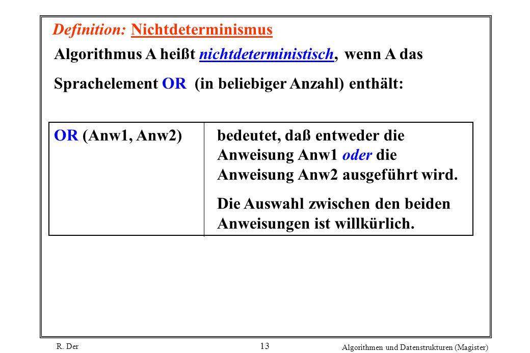 R. Der Algorithmen und Datenstrukturen (Magister) 13 Definition: Nichtdeterminismus Algorithmus A heißt nichtdeterministisch, wenn A das Sprachelement