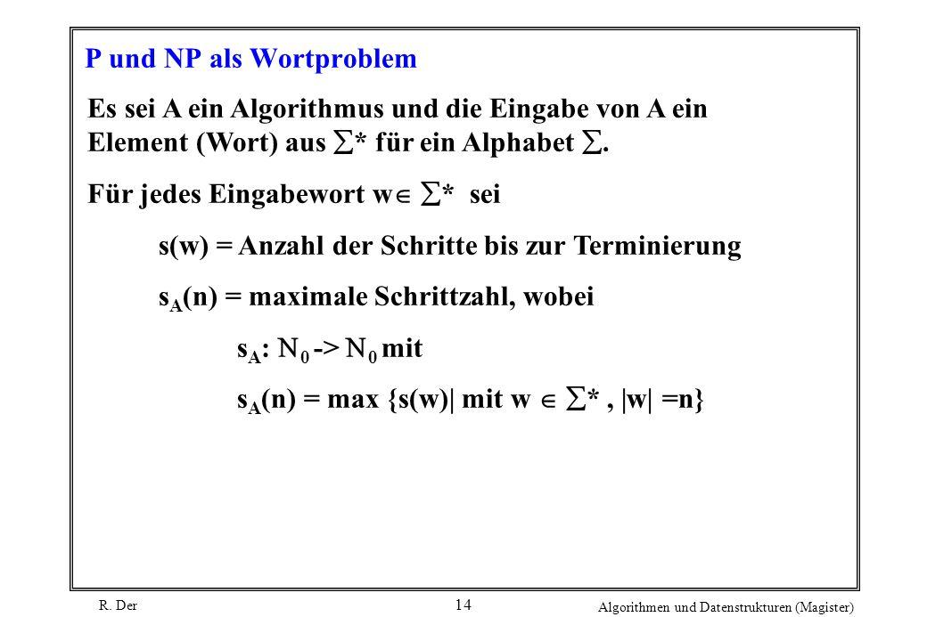 R. Der Algorithmen und Datenstrukturen (Magister) 14 P und NP als Wortproblem Es sei A ein Algorithmus und die Eingabe von A ein Element (Wort) aus *