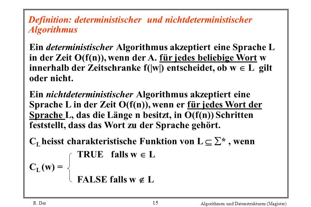 R. Der Algorithmen und Datenstrukturen (Magister) 15 Definition: deterministischer und nichtdeterministischer Algorithmus Ein deterministischer Algori