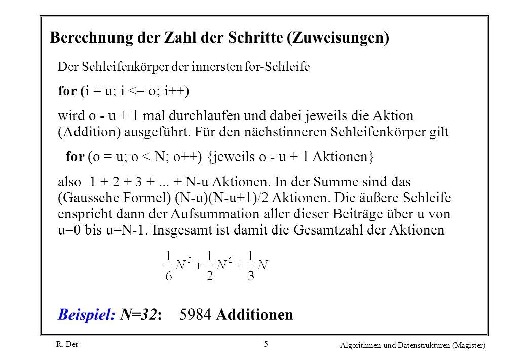 R. Der Algorithmen und Datenstrukturen (Magister) 5 Berechnung der Zahl der Schritte (Zuweisungen) Der Schleifenkörper der innersten for-Schleife for