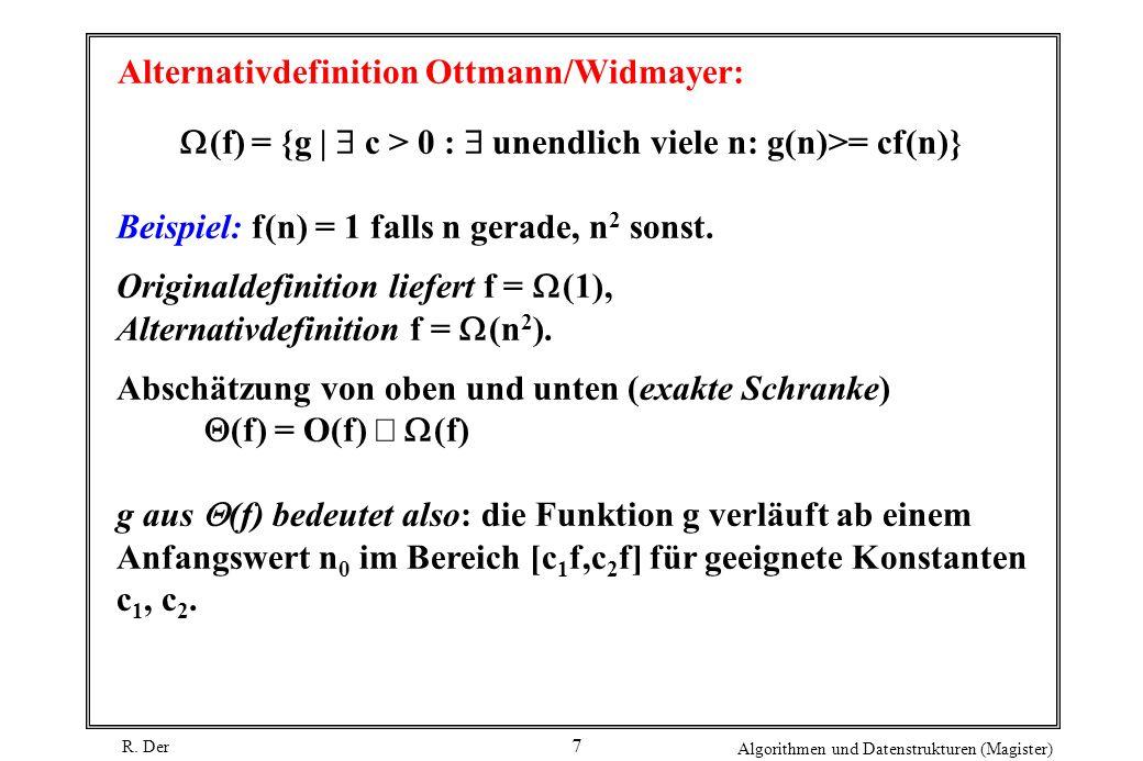 R. Der Algorithmen und Datenstrukturen (Magister) 7 Alternativdefinition Ottmann/Widmayer: (f) = {g | c > 0 : unendlich viele n: g(n)>= cf(n)} Beispie