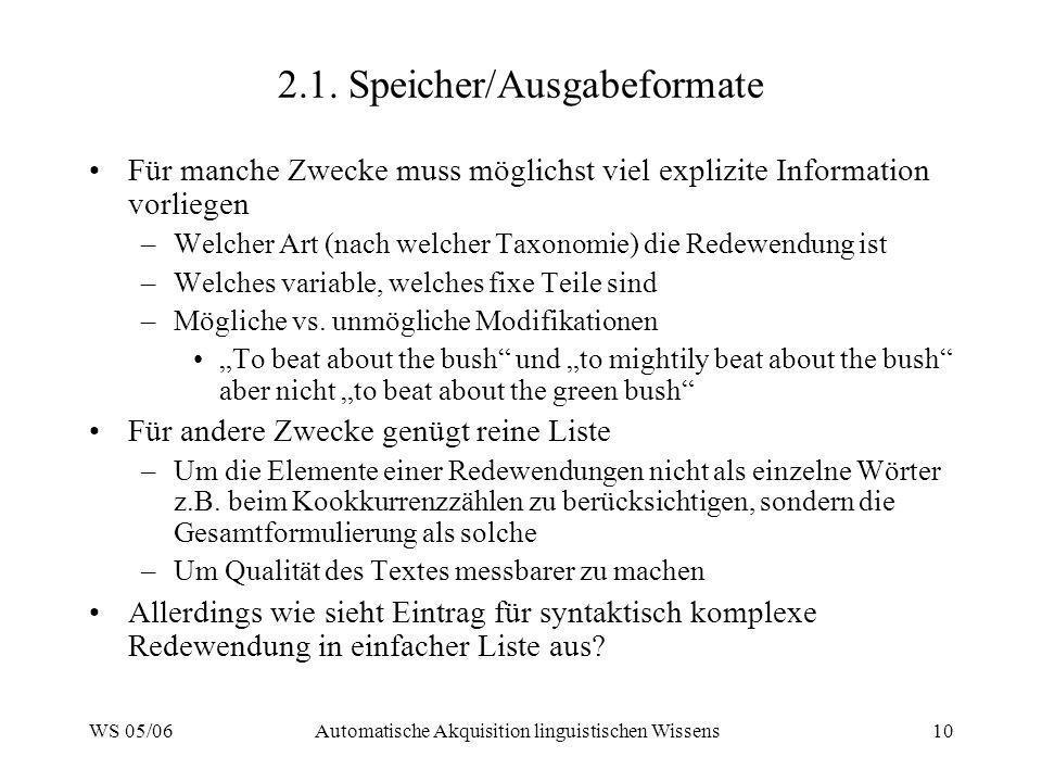 WS 05/06Automatische Akquisition linguistischen Wissens10 2.1. Speicher/Ausgabeformate Für manche Zwecke muss möglichst viel explizite Information vor