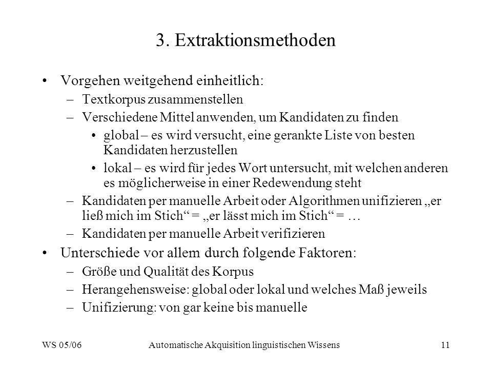 WS 05/06Automatische Akquisition linguistischen Wissens11 3. Extraktionsmethoden Vorgehen weitgehend einheitlich: –Textkorpus zusammenstellen –Verschi