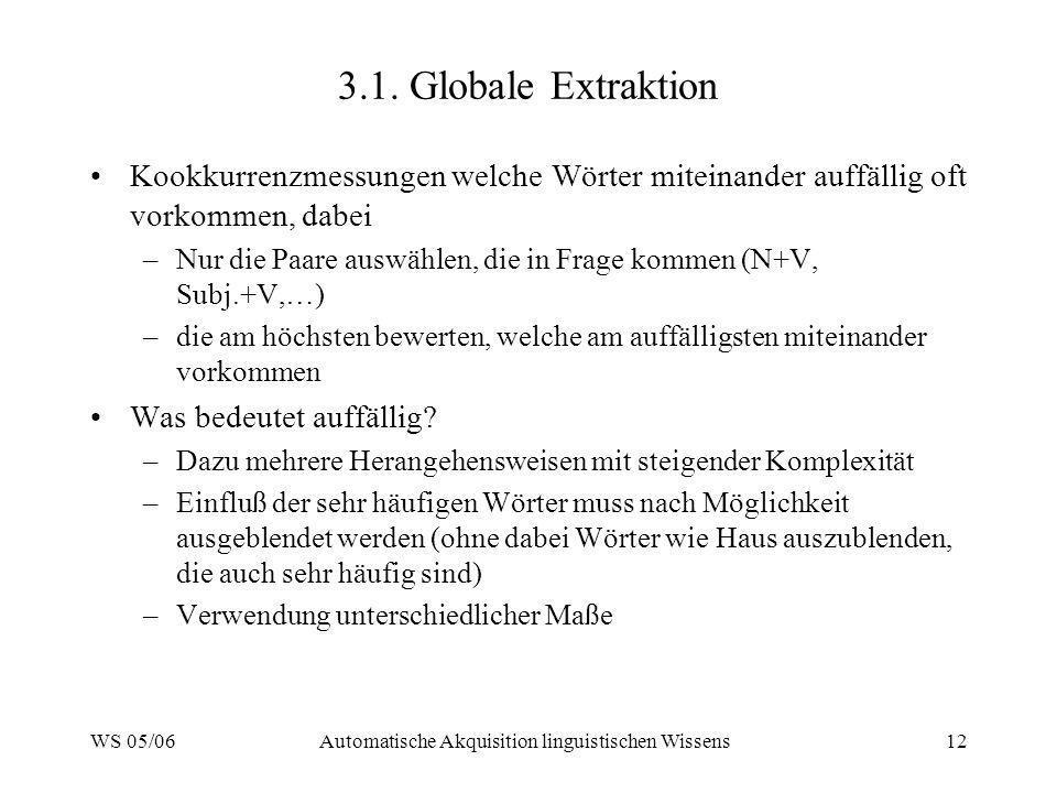 WS 05/06Automatische Akquisition linguistischen Wissens12 3.1. Globale Extraktion Kookkurrenzmessungen welche Wörter miteinander auffällig oft vorkomm