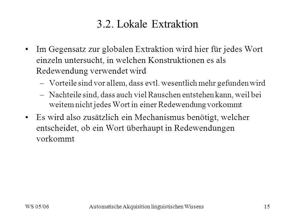 WS 05/06Automatische Akquisition linguistischen Wissens15 3.2. Lokale Extraktion Im Gegensatz zur globalen Extraktion wird hier für jedes Wort einzeln