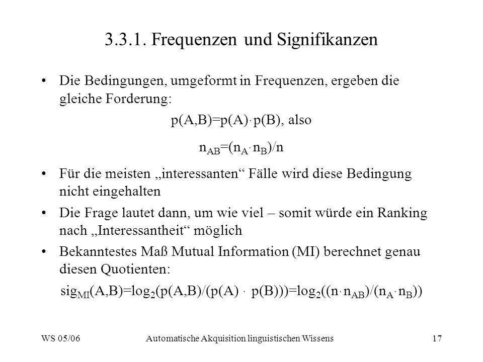 WS 05/06Automatische Akquisition linguistischen Wissens17 3.3.1. Frequenzen und Signifikanzen Die Bedingungen, umgeformt in Frequenzen, ergeben die gl
