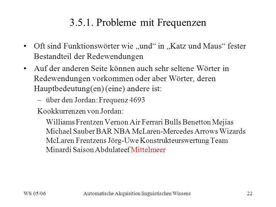 WS 05/06Automatische Akquisition linguistischen Wissens22 3.5.1. Probleme mit Frequenzen Oft sind Funktionswörter wie und in Katz und Maus fester Best