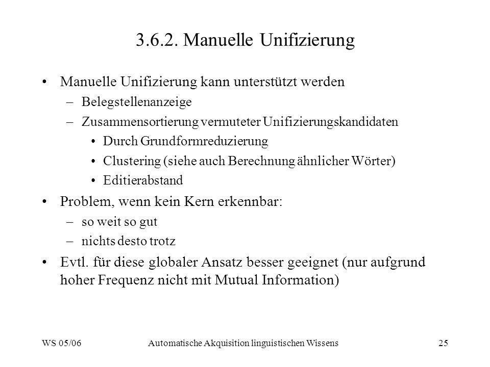WS 05/06Automatische Akquisition linguistischen Wissens25 3.6.2. Manuelle Unifizierung Manuelle Unifizierung kann unterstützt werden –Belegstellenanze