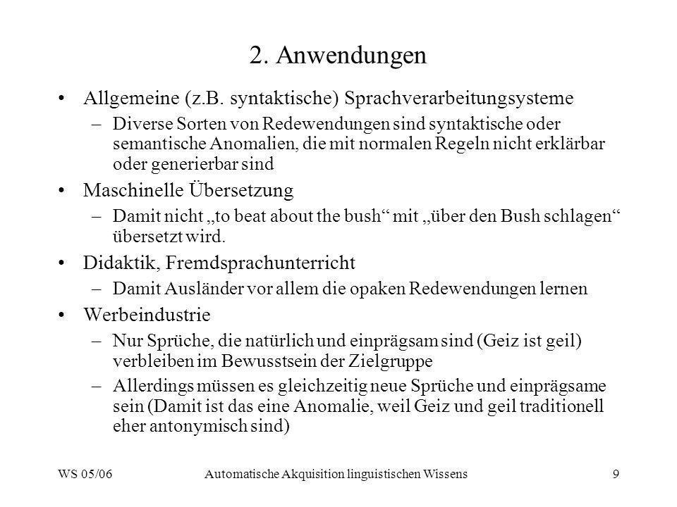 WS 05/06Automatische Akquisition linguistischen Wissens9 2. Anwendungen Allgemeine (z.B. syntaktische) Sprachverarbeitungsysteme –Diverse Sorten von R