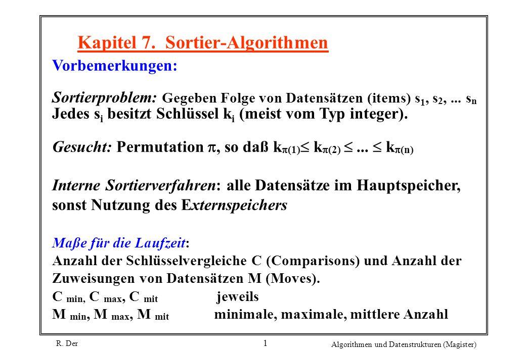 R. Der Algorithmen und Datenstrukturen (Magister) 1 Kapitel 7. Sortier-Algorithmen Vorbemerkungen: Sortierproblem: Gegeben Folge von Datensätzen (item