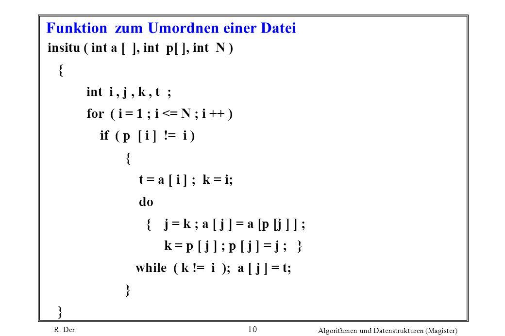 R. Der Algorithmen und Datenstrukturen (Magister) 10 Funktion zum Umordnen einer Datei insitu ( int a [ ], int p[ ], int N ) { int i, j, k, t ; for (
