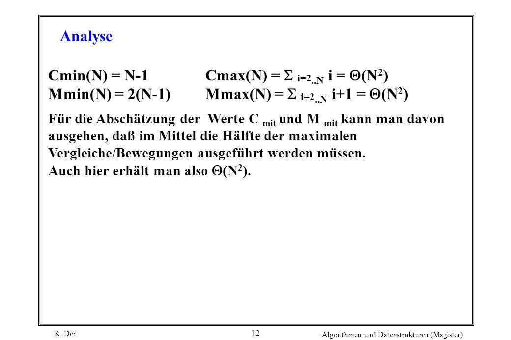 R. Der Algorithmen und Datenstrukturen (Magister) 12 Cmin(N) = N-1Cmax(N) = i=2..N i = (N 2 ) Mmin(N) = 2(N-1)Mmax(N) = i=2..N i+1 = (N 2 ) Für die Ab