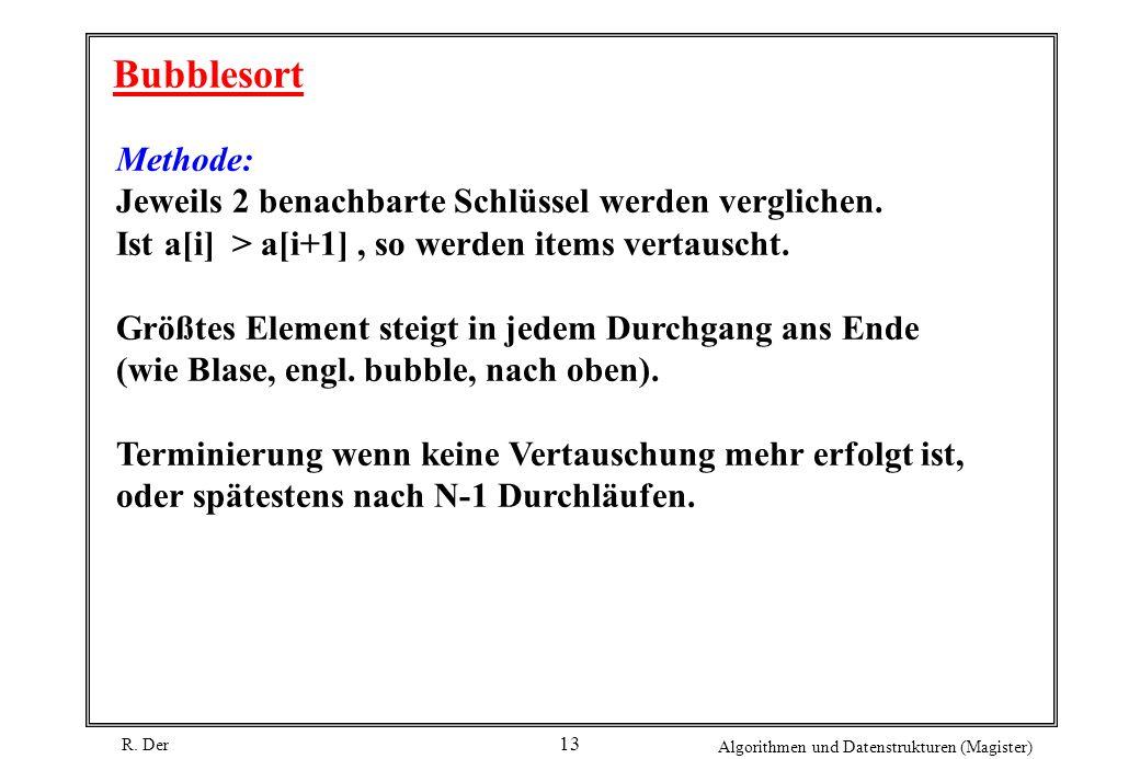 R. Der Algorithmen und Datenstrukturen (Magister) 13 Bubblesort Methode: Jeweils 2 benachbarte Schlüssel werden verglichen. Ist a[i] > a[i+1], so werd