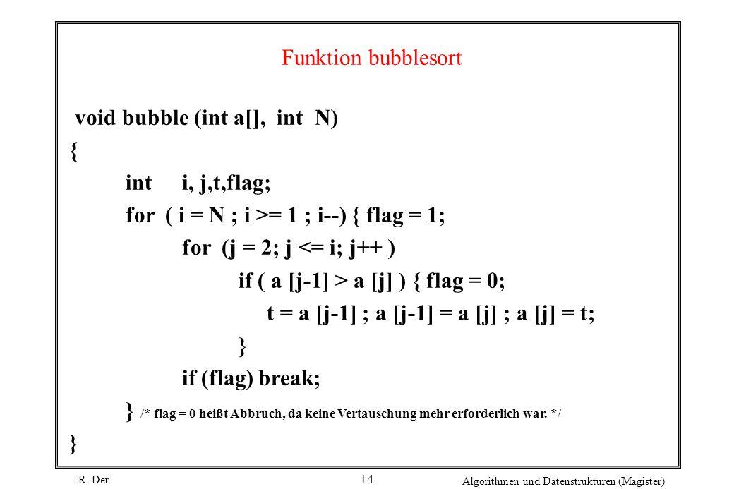 R. Der Algorithmen und Datenstrukturen (Magister) 14 Funktion bubblesort void bubble (int a[], int N) { inti, j,t,flag; for ( i = N ; i >= 1 ; i--) {