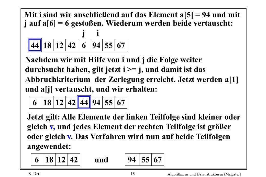 R. Der Algorithmen und Datenstrukturen (Magister) 19 Mit i sind wir anschließend auf das Element a[5] = 94 und mit j auf a[6] = 6 gestoßen. Wiederum w