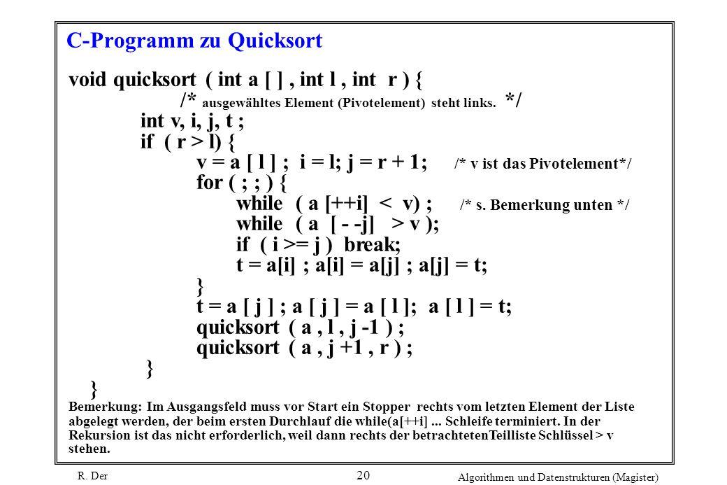 R. Der Algorithmen und Datenstrukturen (Magister) 20 C-Programm zu Quicksort void quicksort ( int a [ ], int l, int r ) { /* ausgewähltes Element (Piv
