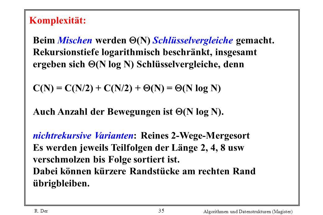 R. Der Algorithmen und Datenstrukturen (Magister) 35 Komplexität: Beim Mischen werden (N) Schlüsselvergleiche gemacht. Rekursionstiefe logarithmisch b