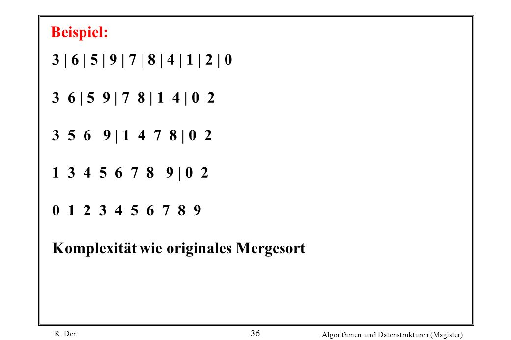 R. Der Algorithmen und Datenstrukturen (Magister) 36 Beispiel: 3 | 6 | 5 | 9 | 7 | 8 | 4 | 1 | 2 | 0 3 6 | 5 9 | 7 8 | 1 4 | 0 2 3 5 6 9 | 1 4 7 8 | 0