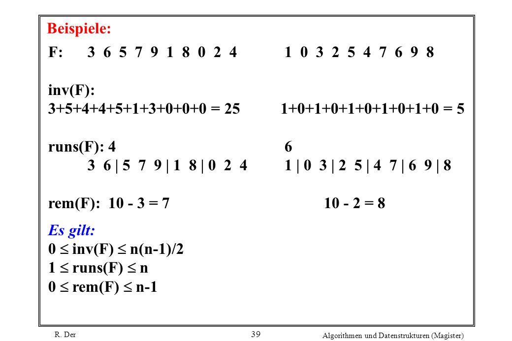 R. Der Algorithmen und Datenstrukturen (Magister) 39 Beispiele: F: 3 6 5 7 9 1 8 0 2 41 0 3 2 5 4 7 6 9 8 inv(F): 3+5+4+4+5+1+3+0+0+0 = 25 1+0+1+0+1+0
