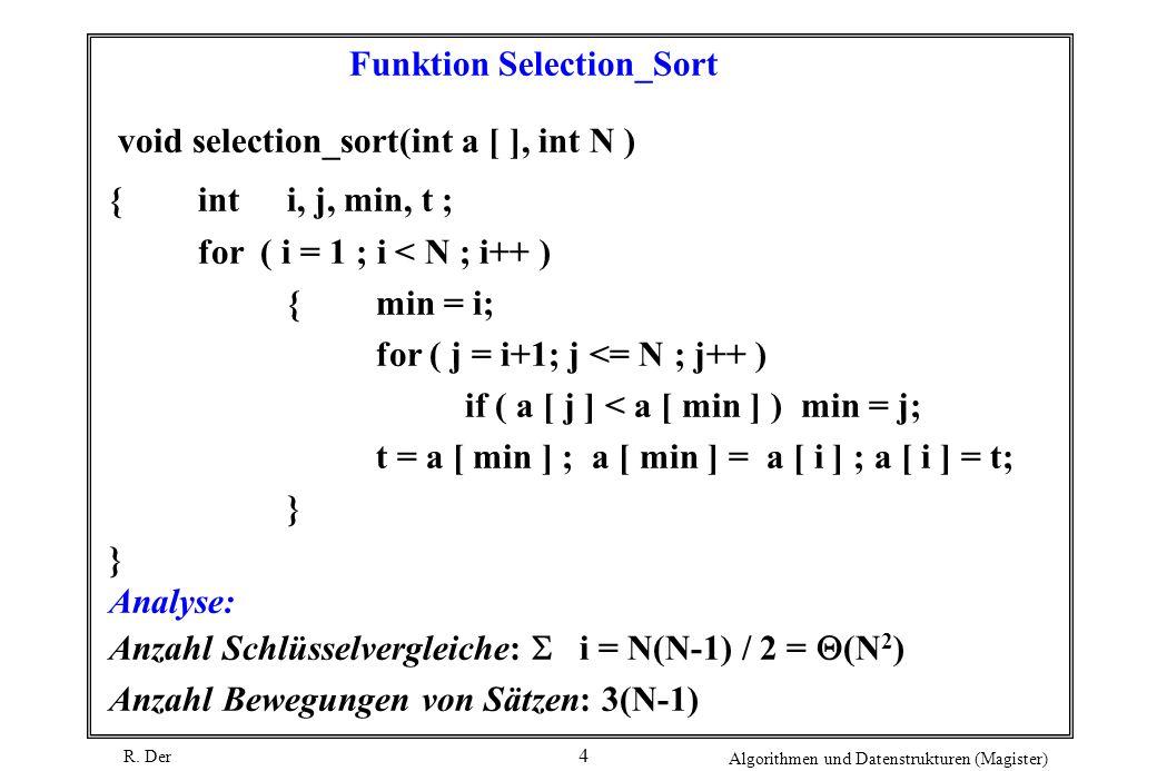 R. Der Algorithmen und Datenstrukturen (Magister) 4 Funktion Selection_Sort void selection_sort(int a [ ], int N ) { inti, j, min, t ; for ( i = 1 ; i
