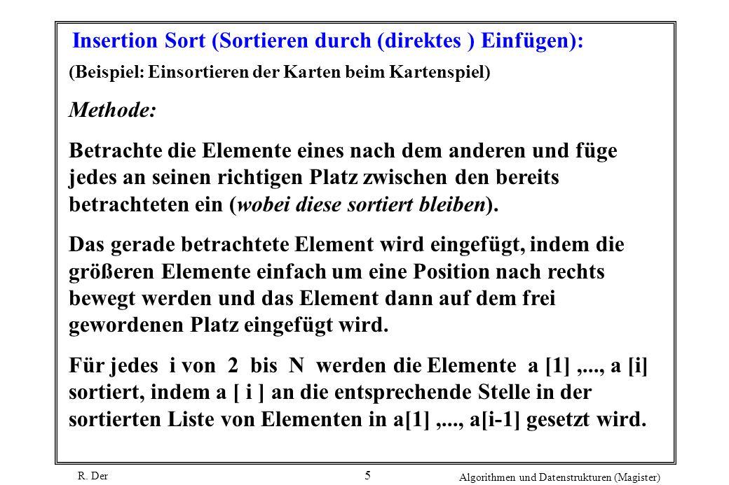 R. Der Algorithmen und Datenstrukturen (Magister) 5 Insertion Sort (Sortieren durch (direktes ) Einfügen): (Beispiel: Einsortieren der Karten beim Kar
