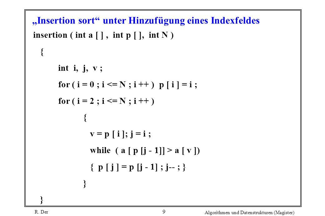 R. Der Algorithmen und Datenstrukturen (Magister) 9 Insertion sort unter Hinzufügung eines Indexfeldes insertion ( int a [ ], int p [ ], int N ) { int
