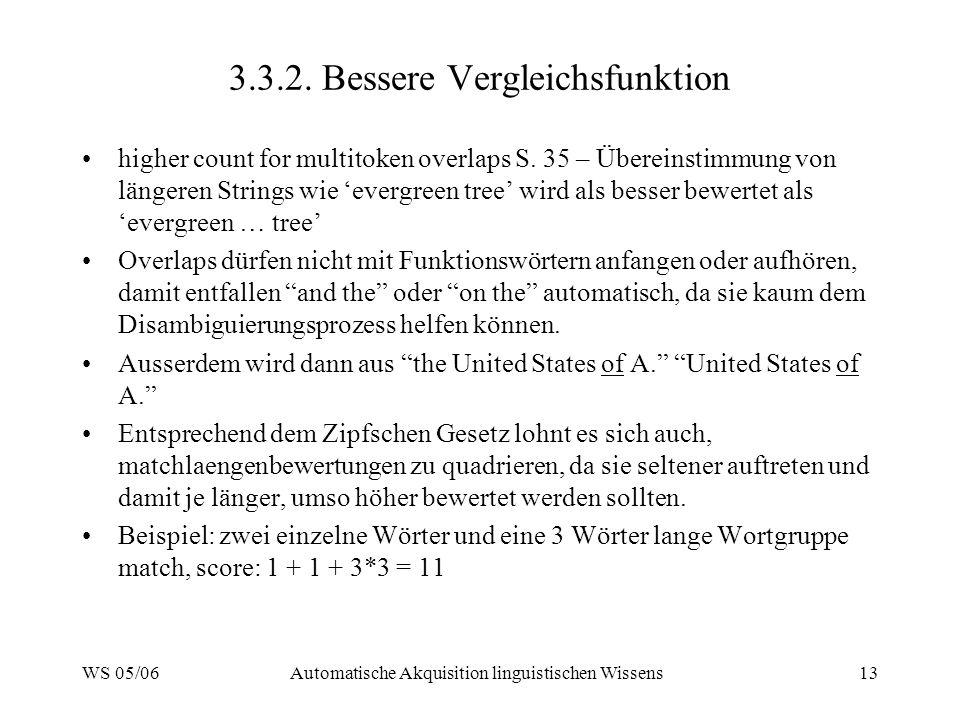 WS 05/06Automatische Akquisition linguistischen Wissens13 3.3.2. Bessere Vergleichsfunktion higher count for multitoken overlaps S. 35 – Übereinstimmu