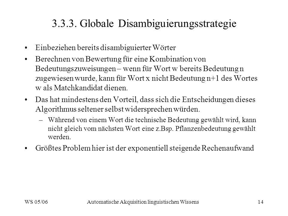 WS 05/06Automatische Akquisition linguistischen Wissens14 3.3.3. Globale Disambiguierungsstrategie Einbeziehen bereits disambiguierter Wörter Berechne