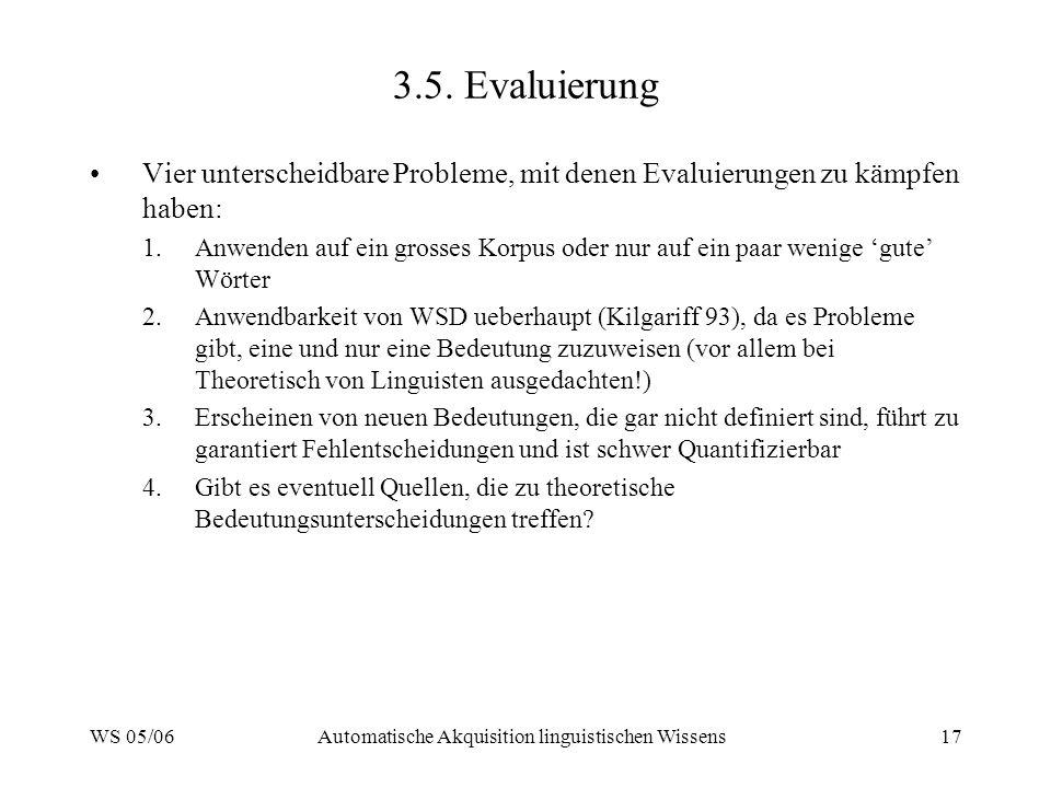 WS 05/06Automatische Akquisition linguistischen Wissens17 3.5. Evaluierung Vier unterscheidbare Probleme, mit denen Evaluierungen zu kämpfen haben: 1.