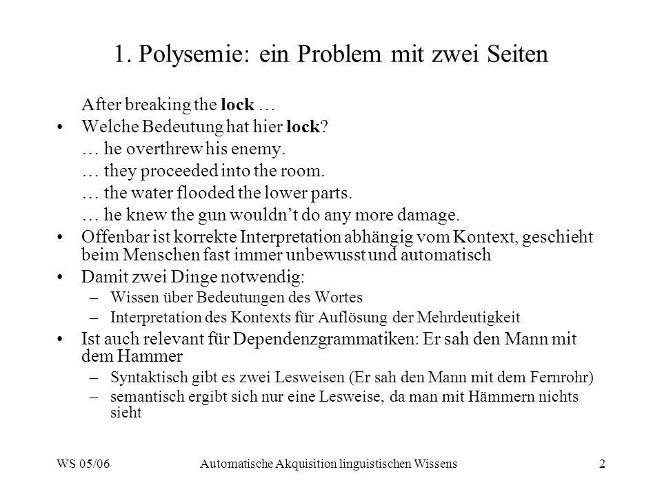 WS 05/06Automatische Akquisition linguistischen Wissens2 1. Polysemie: ein Problem mit zwei Seiten After breaking the lock … Welche Bedeutung hat hier