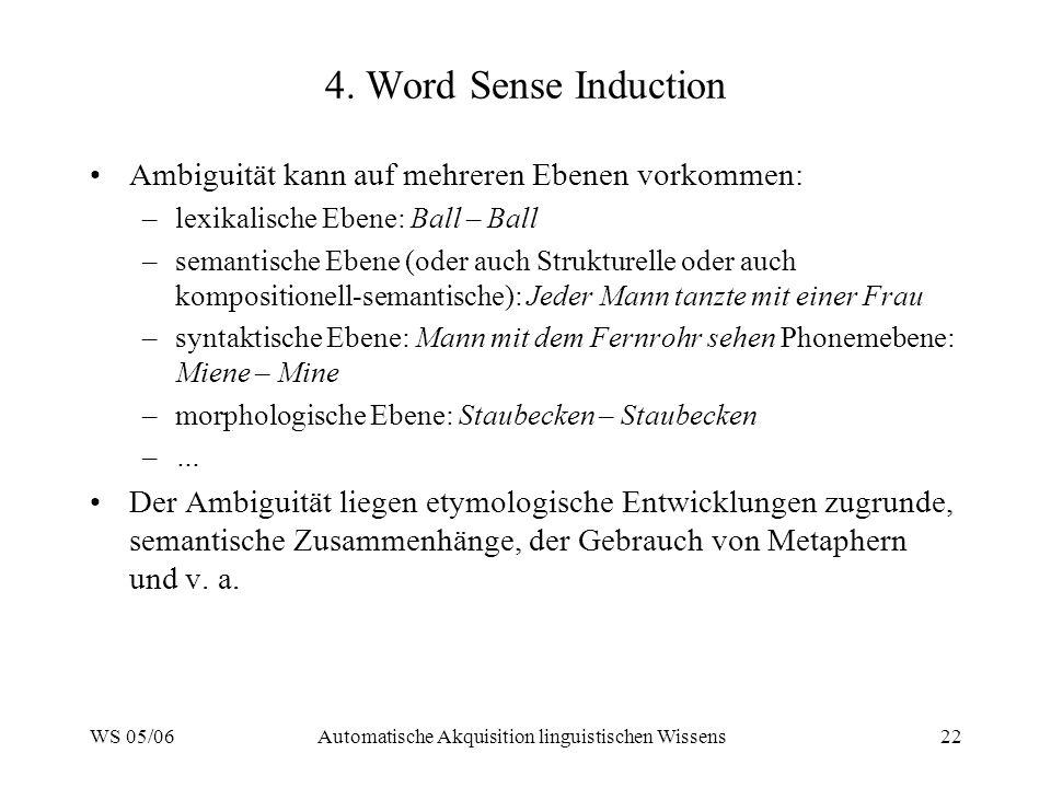 WS 05/06Automatische Akquisition linguistischen Wissens22 4. Word Sense Induction Ambiguität kann auf mehreren Ebenen vorkommen: –lexikalische Ebene: