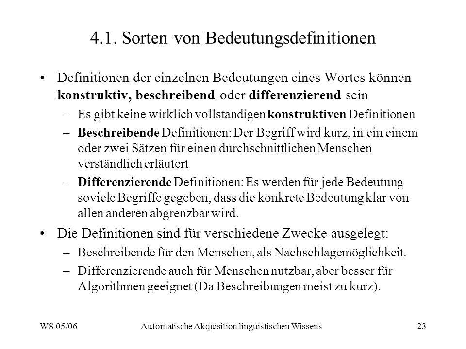 WS 05/06Automatische Akquisition linguistischen Wissens23 4.1. Sorten von Bedeutungsdefinitionen Definitionen der einzelnen Bedeutungen eines Wortes k