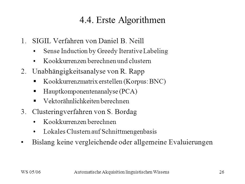 WS 05/06Automatische Akquisition linguistischen Wissens26 4.4. Erste Algorithmen 1.SIGIL Verfahren von Daniel B. Neill Sense Induction by Greedy Itera