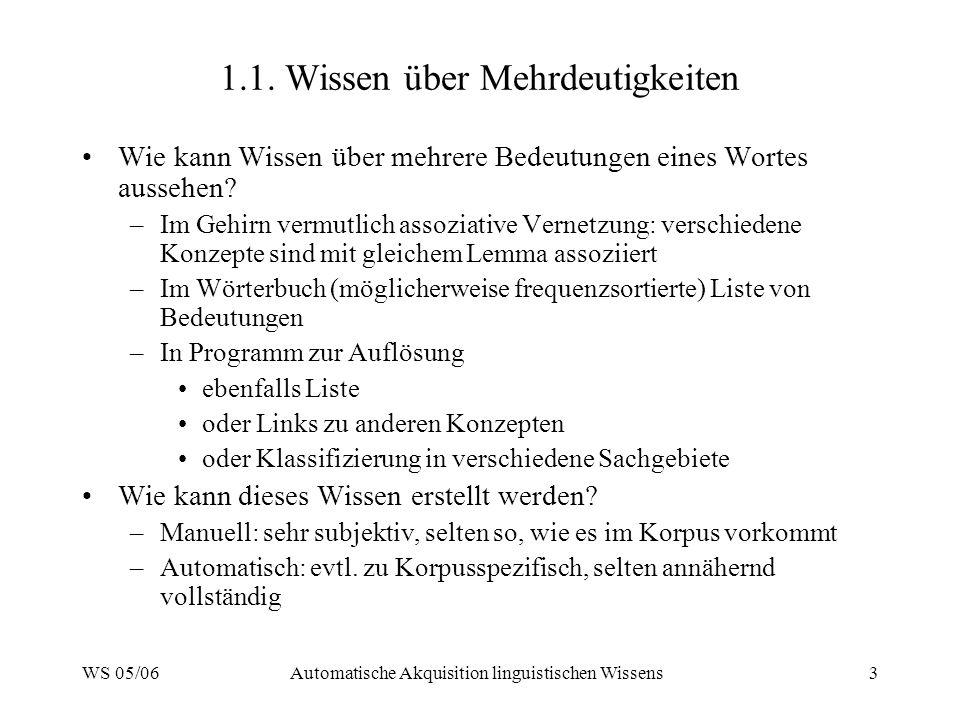 WS 05/06Automatische Akquisition linguistischen Wissens3 1.1. Wissen über Mehrdeutigkeiten Wie kann Wissen über mehrere Bedeutungen eines Wortes ausse