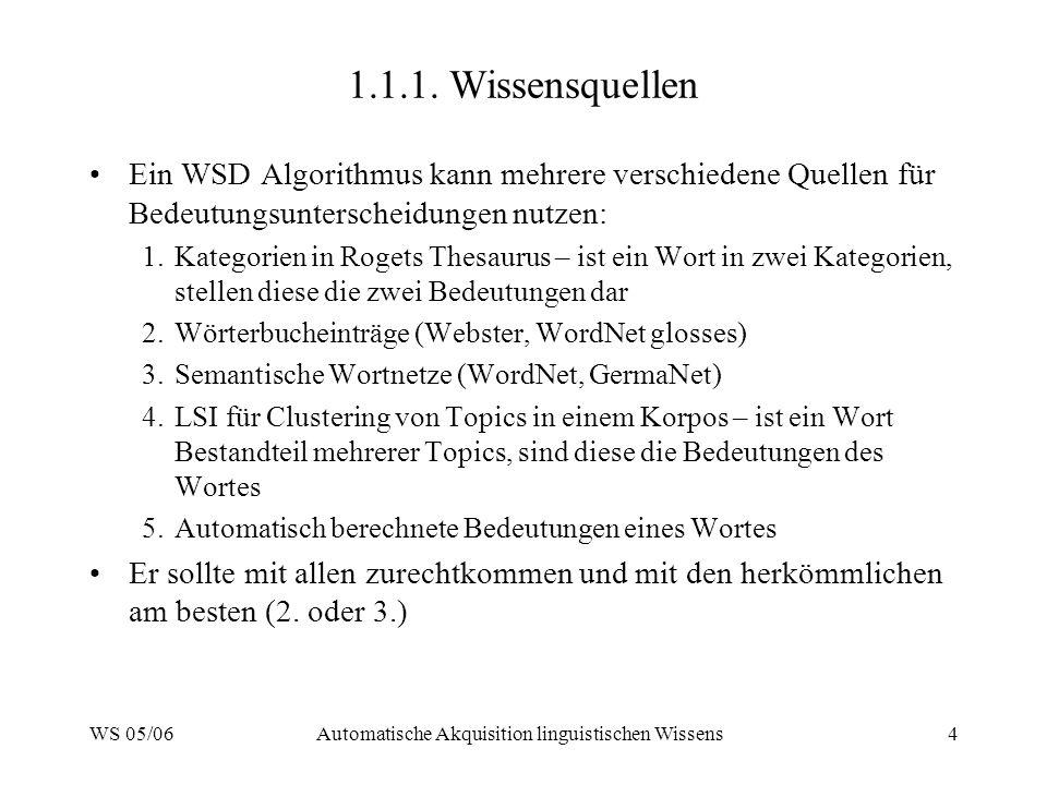 WS 05/06Automatische Akquisition linguistischen Wissens4 1.1.1. Wissensquellen Ein WSD Algorithmus kann mehrere verschiedene Quellen für Bedeutungsunt