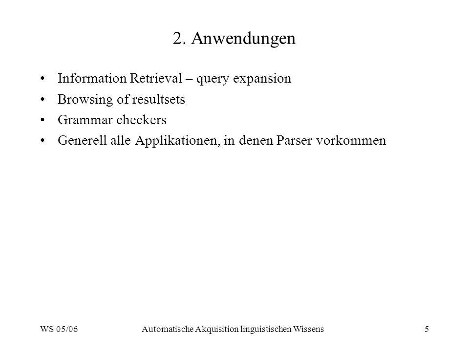 WS 05/06Automatische Akquisition linguistischen Wissens5 2. Anwendungen Information Retrieval – query expansion Browsing of resultsets Grammar checker