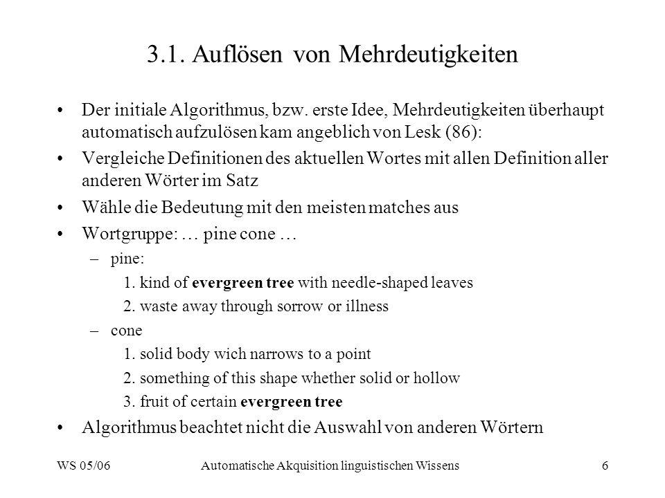 WS 05/06Automatische Akquisition linguistischen Wissens6 3.1. Auflösen von Mehrdeutigkeiten Der initiale Algorithmus, bzw. erste Idee, Mehrdeutigkeite