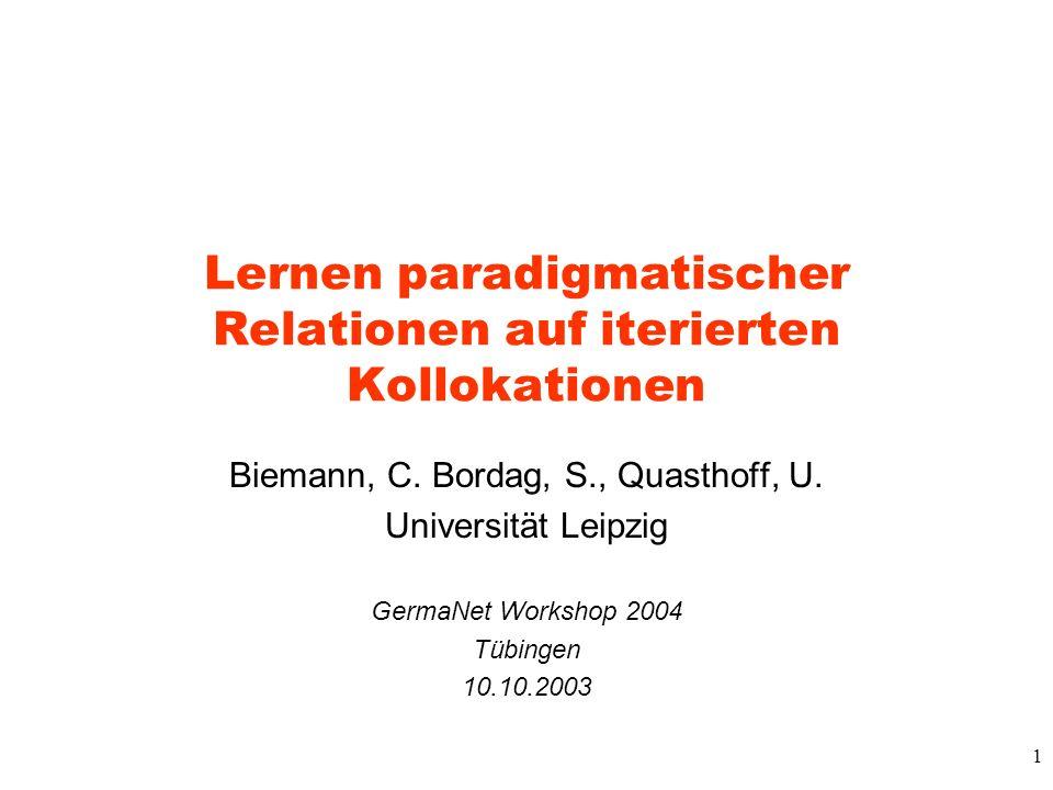 1 Lernen paradigmatischer Relationen auf iterierten Kollokationen Biemann, C. Bordag, S., Quasthoff, U. Universität Leipzig GermaNet Workshop 2004 Tüb