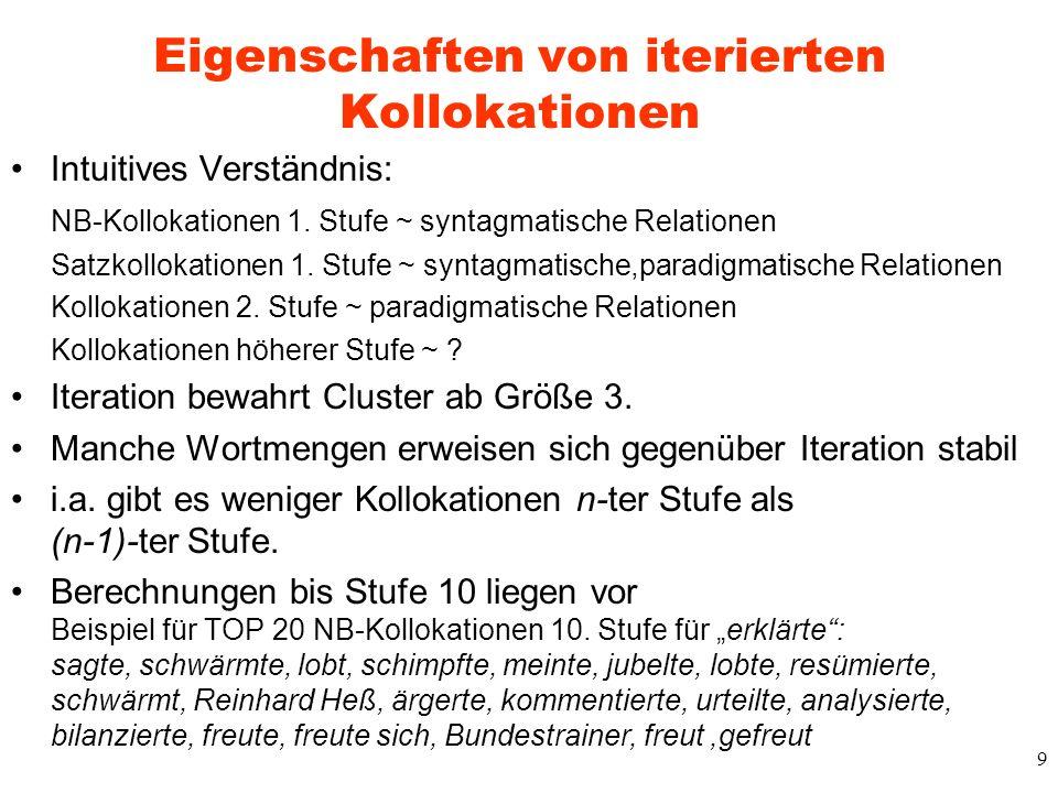 9 Eigenschaften von iterierten Kollokationen Intuitives Verständnis: NB-Kollokationen 1. Stufe ~ syntagmatische Relationen Satzkollokationen 1. Stufe