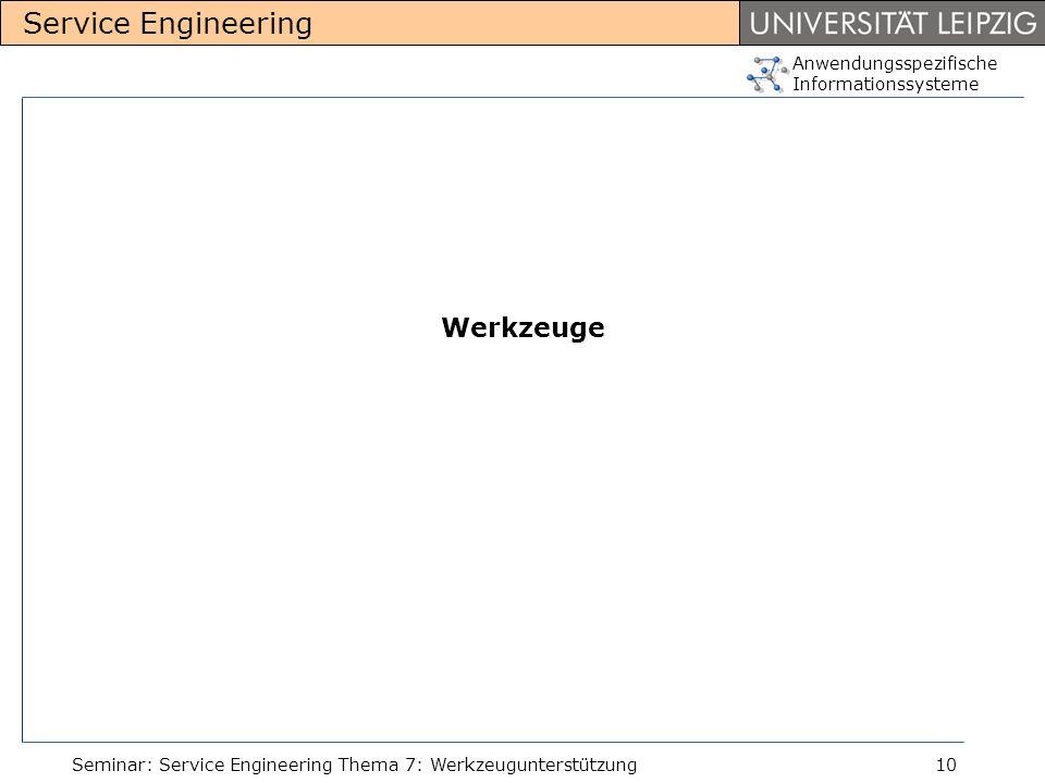 Anwendungsspezifische Informationssysteme Service Engineering Seminar: Service Engineering Thema 7: Werkzeugunterstützung10 Werkzeuge