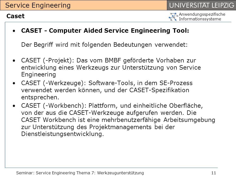 Anwendungsspezifische Informationssysteme Service Engineering Seminar: Service Engineering Thema 7: Werkzeugunterstützung11 Caset CASET - Computer Aid