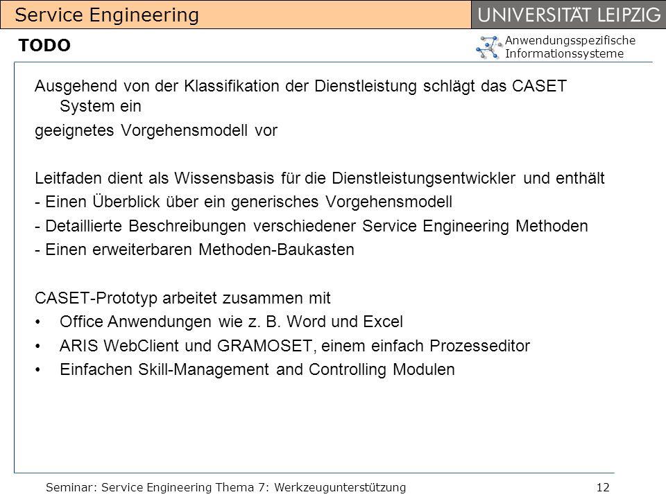 Anwendungsspezifische Informationssysteme Service Engineering Seminar: Service Engineering Thema 7: Werkzeugunterstützung12 TODO Ausgehend von der Kla