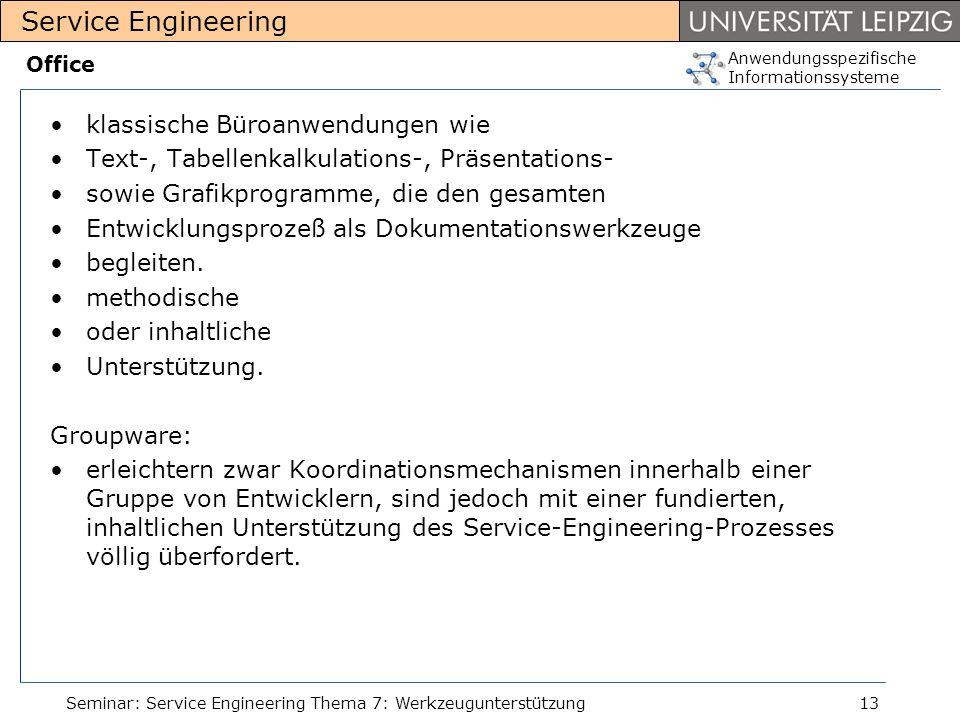 Anwendungsspezifische Informationssysteme Service Engineering Seminar: Service Engineering Thema 7: Werkzeugunterstützung13 Office klassische Büroanwe