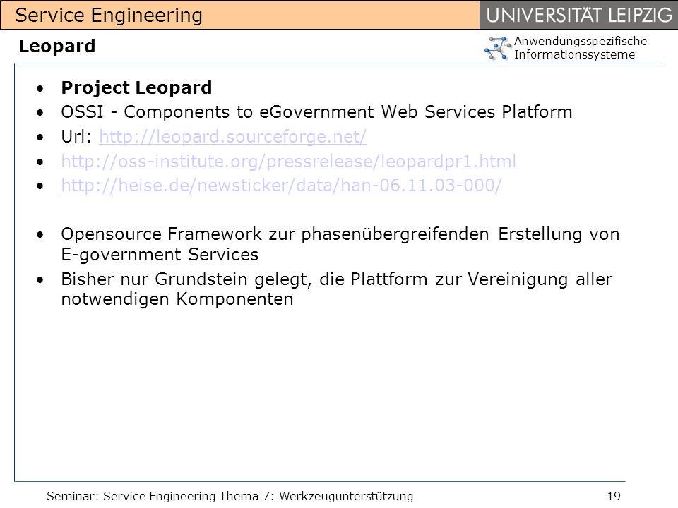 Anwendungsspezifische Informationssysteme Service Engineering Seminar: Service Engineering Thema 7: Werkzeugunterstützung19 Leopard Project Leopard OS