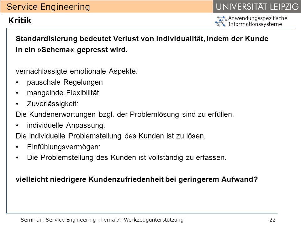 Anwendungsspezifische Informationssysteme Service Engineering Seminar: Service Engineering Thema 7: Werkzeugunterstützung22 Kritik Standardisierung be